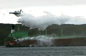 Simulating firefighting from air on oil tanker, Kola Bay, Barents Rescue Exercise, Murmansk, 2009